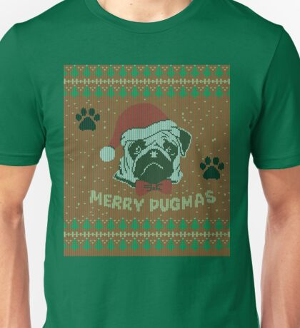 Merry Pugmas - Christmas Pug Knitted Shirt / Ugly Shirt Unisex T-Shirt