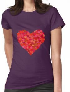 Red Valentine Love Hearts Womens Fitted T-Shirt