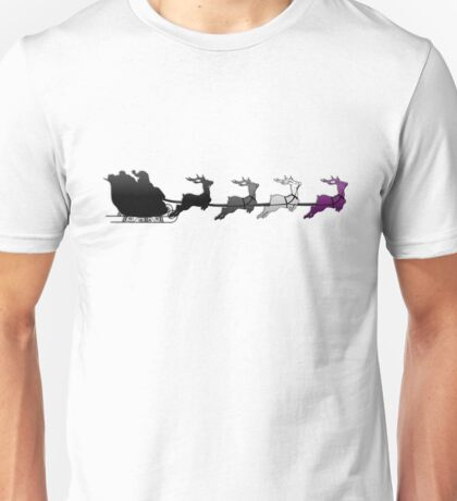 Santa Sleigh with Asexual Reindeer Unisex T-Shirt