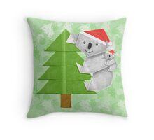 Origami Koala and Baby on Christmas Tree Throw Pillow
