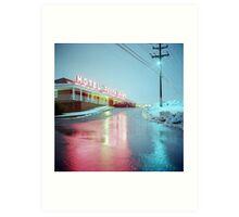 Rainy Motel Lights  Art Print