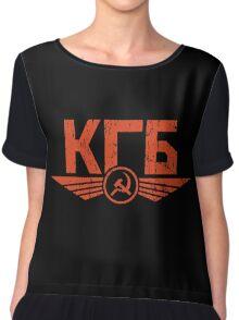 KGB Emblem Red Chiffon Top