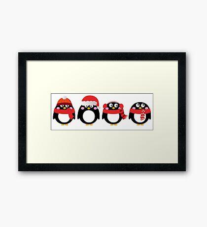 Cartoon penguin christmas set. Vector Illustration Framed Print
