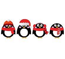 Cartoon penguin christmas set. Vector Illustration Photographic Print