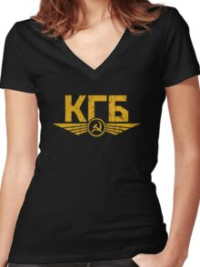 KGB Emblem Yellow Women's Fitted V-Neck T-Shirt