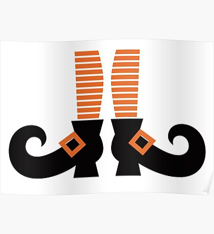 Orange striped witch legs. Vector cartoon Illustration Poster