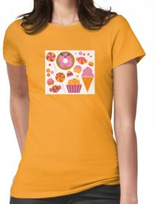 Sweet pink candy collection. Vector cartoon Womens Fitted T-Shirt