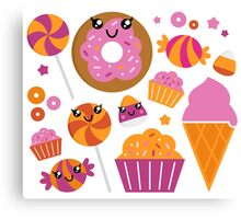 Sweet pink candy collection. Vector cartoon Canvas Print
