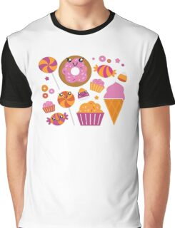Sweet pink candy collection. Vector cartoon Graphic T-Shirt