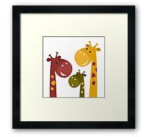 Happy cartoon Giraffes. Vector Illustration Framed Print