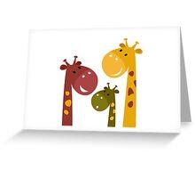 Happy cartoon Giraffes. Vector Illustration Greeting Card