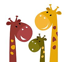 Happy cartoon Giraffes. Vector Illustration Photographic Print