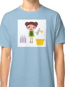 Girl with recycling bin isolated on white Classic T-Shirt