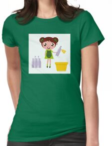Girl with recycling bin isolated on white Womens Fitted T-Shirt