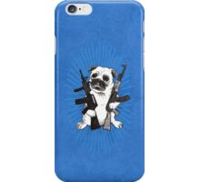 BAD dog – blue armed pug iPhone Case/Skin