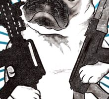 BAD dog – blue armed pug Sticker