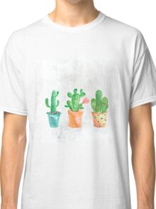 Three Green Cacti Watercolor White Classic T-Shirt