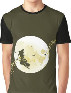 Flying Witch over Full Moon Graphic T-Shirt
