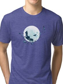Flying Witch over Full Moon 2 Tri-blend T-Shirt