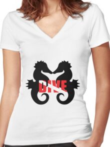 Seahorse scuba diving Women's Fitted V-Neck T-Shirt