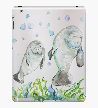 Mother Manatee and baby by Liz H Lovell iPad Case/Skin