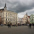 Cesky Krumlov Town Square and Cathedral by Elena Skvortsova