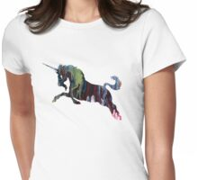 Unicorn, Colorful Unicorn Silhouette Womens Fitted T-Shirt
