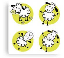 Doodle sheep collection in circles Canvas Print