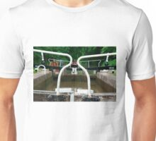 Photograph of a narrow boat or Barge about to go through a series of locks. Unisex T-Shirt