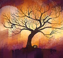 Halloween tree silhouette - digital design by Thubakabra
