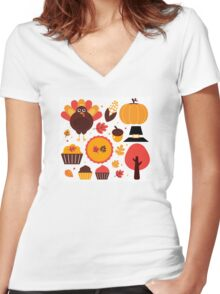 Thanksgiving items set. Vector Illustration Women's Fitted V-Neck T-Shirt