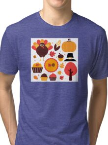 Thanksgiving items set. Vector Illustration Tri-blend T-Shirt
