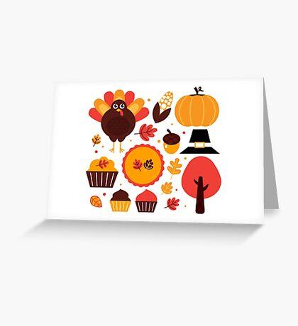 Thanksgiving items set. Vector Illustration Greeting Card