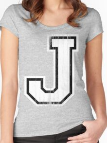 Big Sports Letter J Women's Fitted Scoop T-Shirt