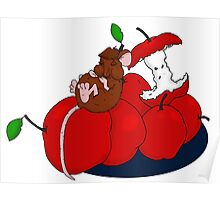 Napping on Apples Poster