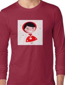 Cartoon red riding hood. Illustration / Wild red and black art Long Sleeve T-Shirt