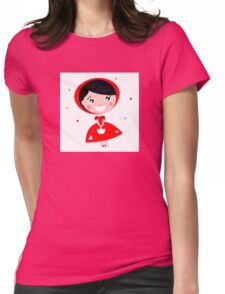 Cartoon red riding hood. Illustration / Wild red and black art Womens Fitted T-Shirt