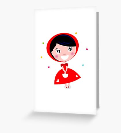 Cartoon red riding hood. Illustration / Wild red and black art Greeting Card
