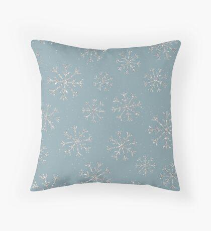 Silver snowflakes Throw Pillow