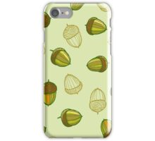 Green acorns pattern iPhone Case/Skin