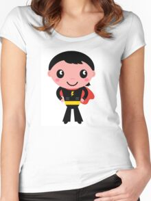Cute young Super hero boy. Vector Illustration Women's Fitted Scoop T-Shirt
