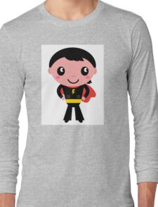 Cute young Super hero boy. Vector Illustration Long Sleeve T-Shirt
