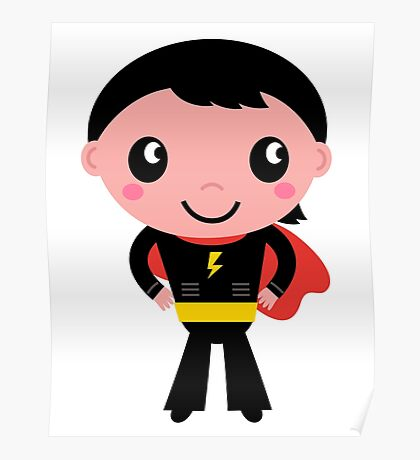 Cute young Super hero boy. Vector Illustration Poster