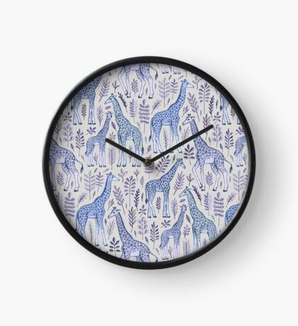 Blue Giraffe Pattern Clock