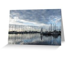 Soft Silver Morning - Reflecting on Sails and Yachts Greeting Card