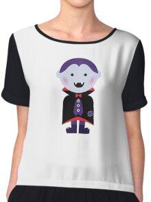 Child in vampire costume. Vector cartoon Chiffon Top