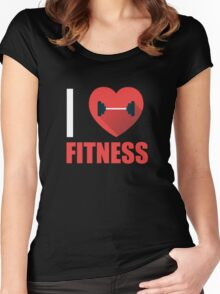 I Heart Love Fitness - Gym Fit Trainer Workout  Women's Fitted Scoop T-Shirt