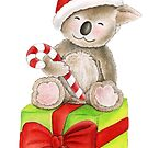 Koala bear Christmas candy gift box art by Sarah Trett