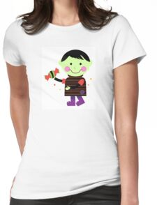 Retro walking zombie kid with sweet sugar Womens Fitted T-Shirt