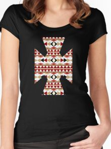 Navajo White Pattern Women's Fitted Scoop T-Shirt
